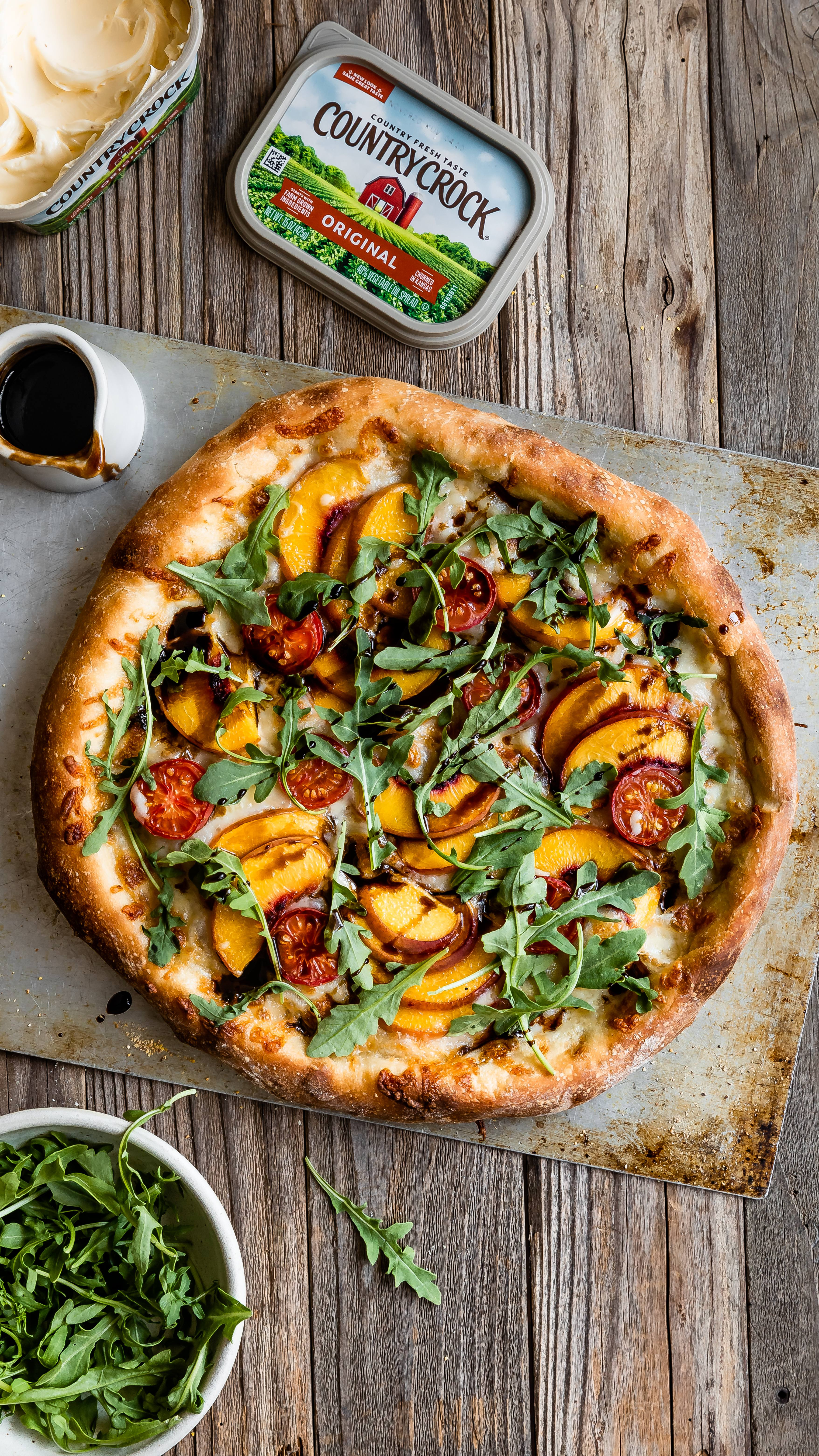 recipe image Peach and Argula Pizza