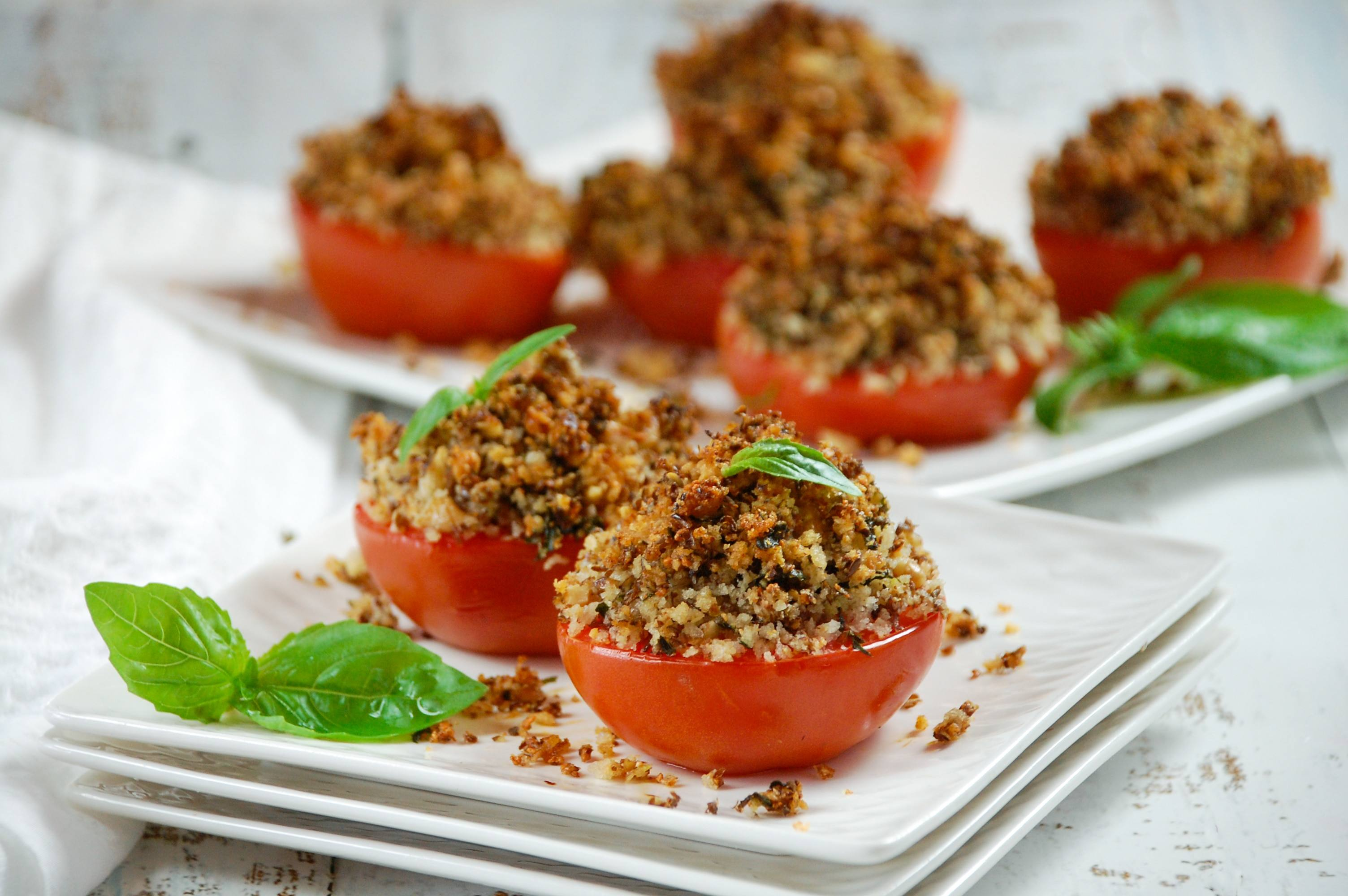recipe image Roasted Tomatoes with Garlic Herb Bread Crumbs
