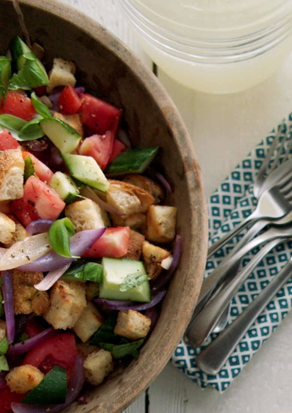 recipe image Fresh Tomato & Cucumber Salad with Buttery Garlic Croutons