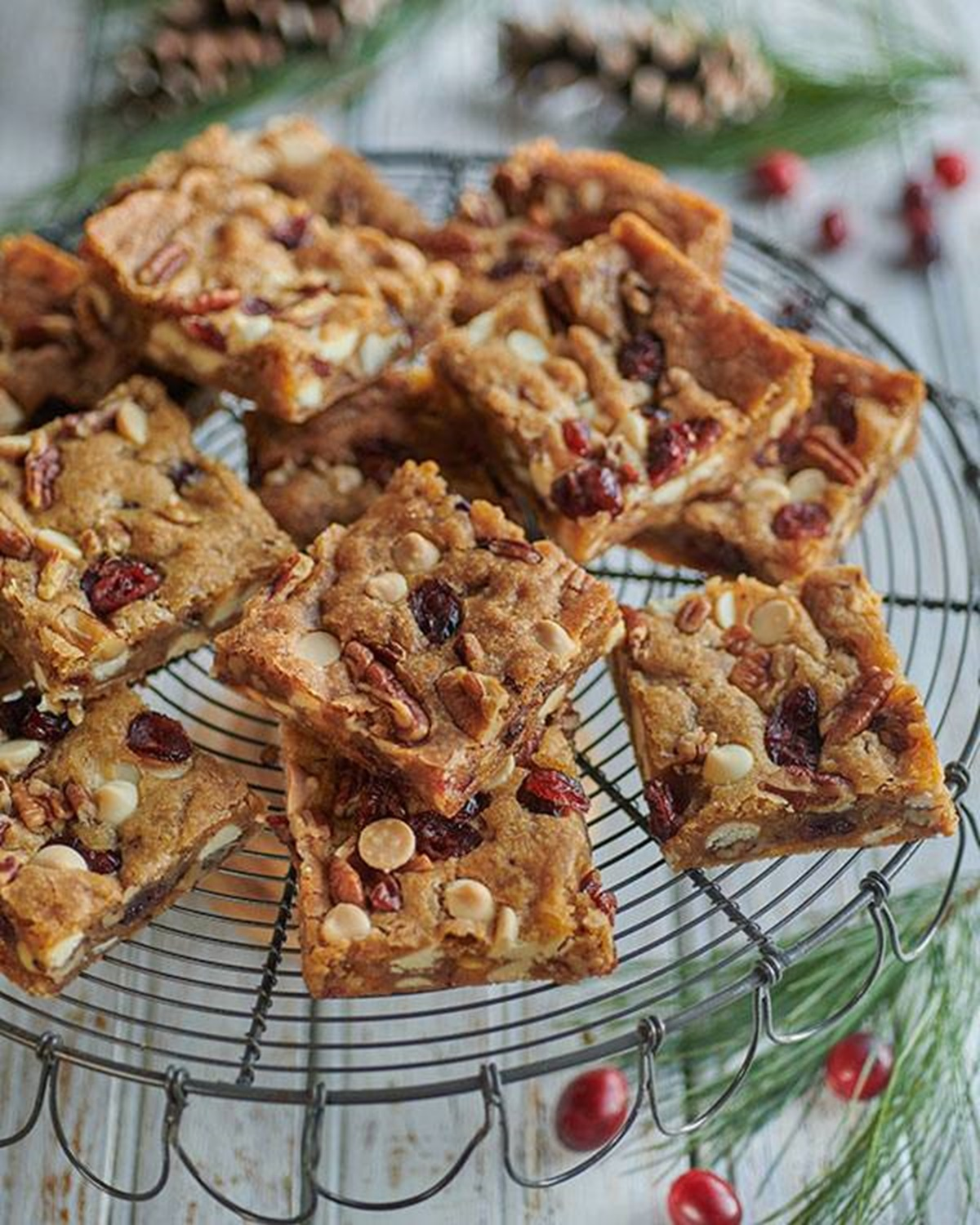 recipe image Pecan, White Chocolate & Cranberry Blondies