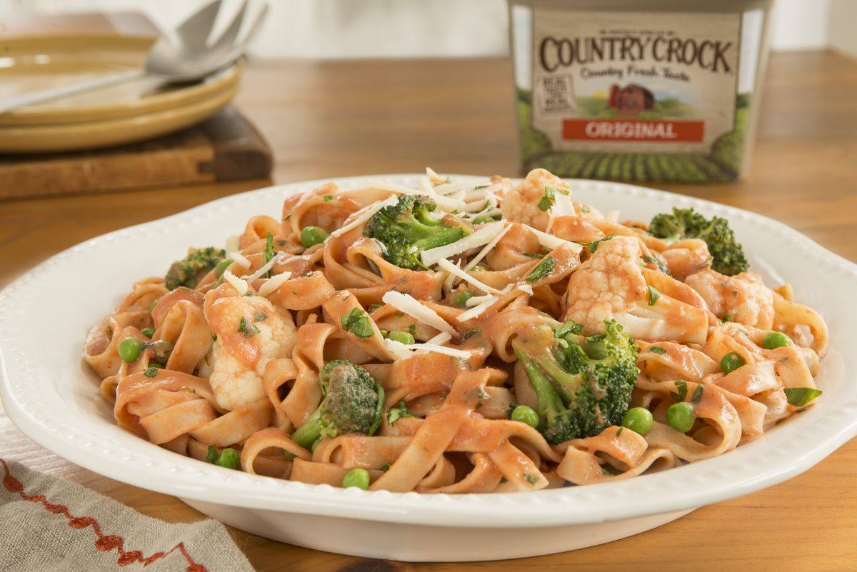 recipe image Fettuccine with Fall Veggies in a Tomato Cream Sauce